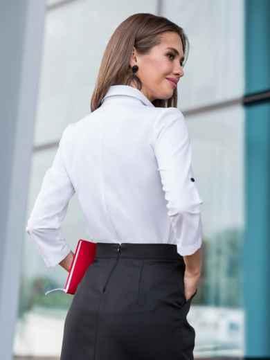 Белая блузка с кружевной кокеткой 39958, фото 2