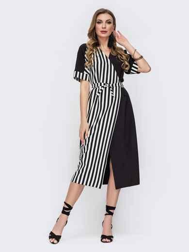 Черное платье на запах в полоску - 47043, фото 1 – интернет-магазин Dressa