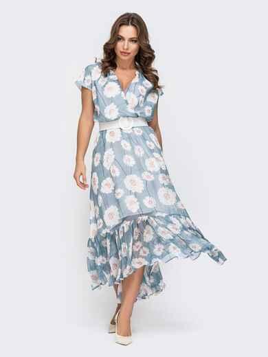 Голубое платье из шифона с цветочным принтом 45926, фото 1