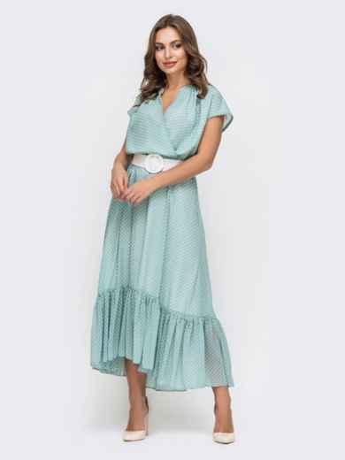 Голубое платье из шифона в горох 45925, фото 2