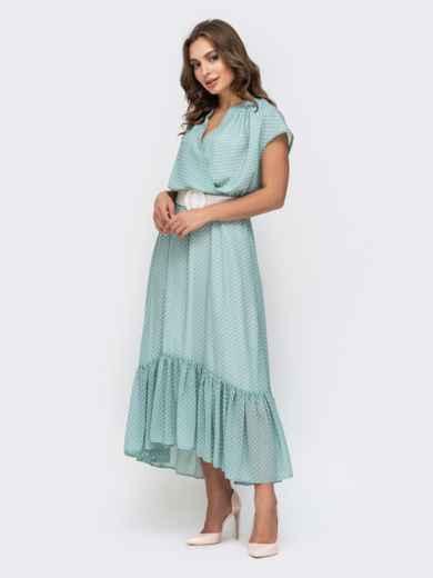 Голубое платье из шифона в горох 45925, фото 3