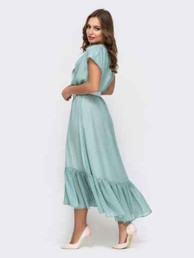 Голубое платье из шифона в горох 45925, фото 4
