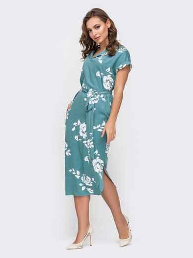 Голубое платье с принтом и разрезами по бокам 45917, фото 1