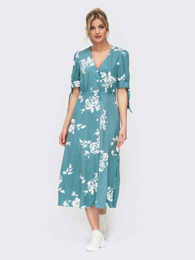 Голубое платье с принтом и рукавом-фонарик 45921, фото 1