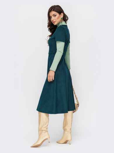 Комбинированное платье из замши с юбкой-трапецией зеленое 51701, фото 2