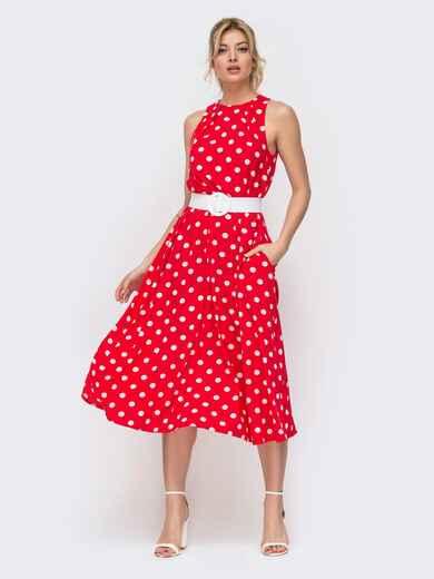 Красное платье в горох приталенного кроя с американской проймой 45910, фото 1