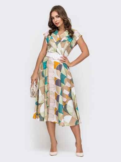 Платье с принтом и расклешенной юбкой бежевое 45918, фото 1