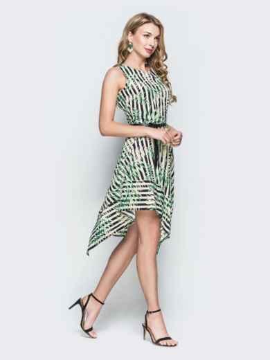 Приталенное платье с принтом и асимметричным низом зеленое 38393, фото 2