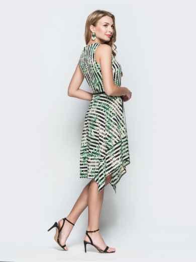 Приталенное платье с принтом и асимметричным низом зеленое 38393, фото 3