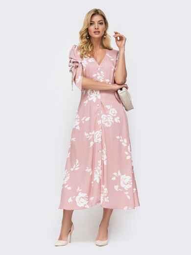 Розовое платье с принтом и рукавом-фонарик 45920, фото 1