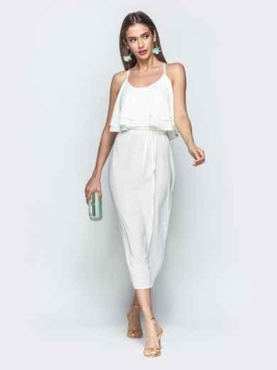 Белое платье на бретелях с воланом по верху 39387, фото 2