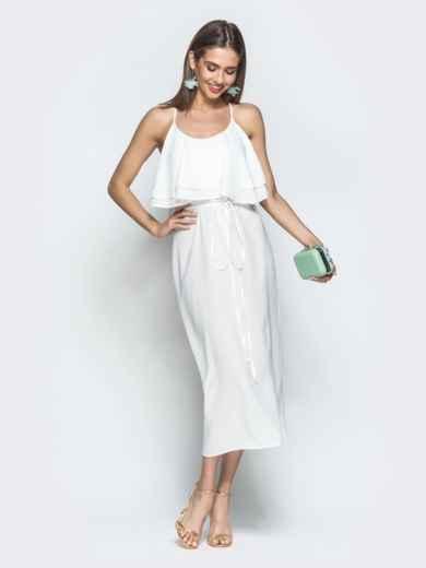 Белое платье на бретелях с воланом по верху 39387, фото 3