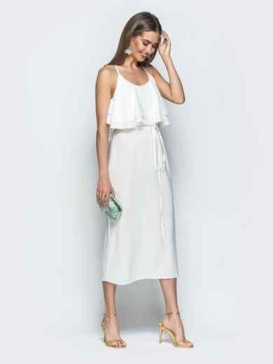Белое платье на бретелях с воланом по верху 39387, фото 4