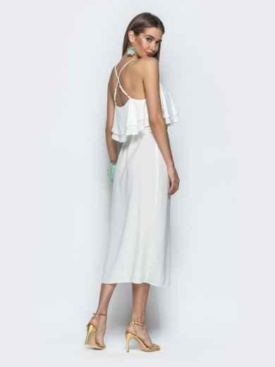 Белое платье на бретелях с воланом по верху 39387, фото 5