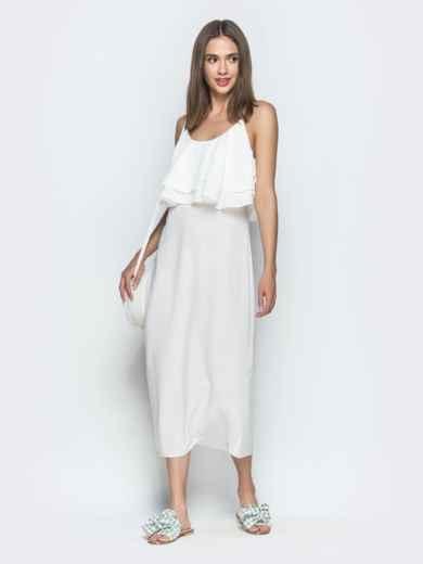 Белое платье на бретелях с воланом по верху 39387, фото 6