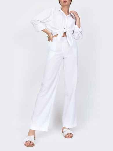 Белые брюки прямого кроя с резинкой по талии 46988, фото 1