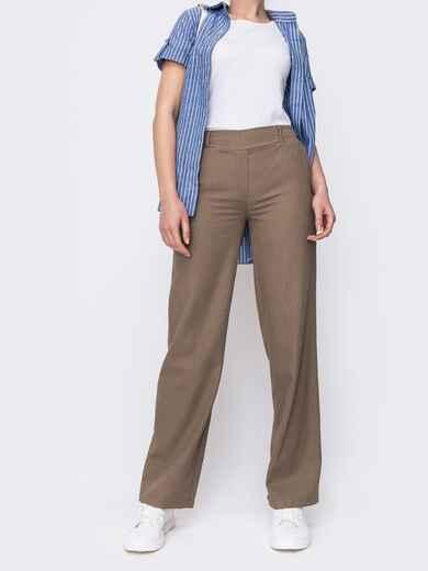 Бежевые брюки прямого кроя с резинкой по талии 46986, фото 1