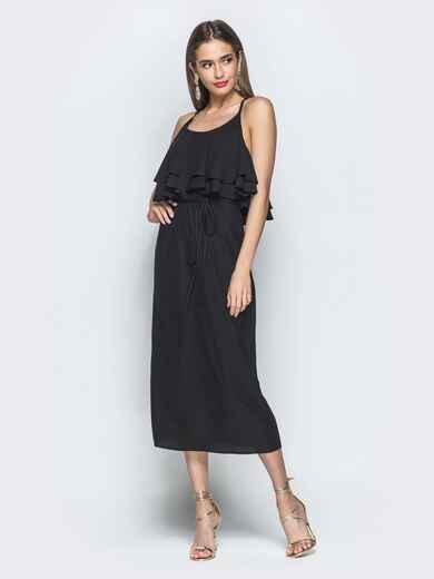 Чёрное платье на бретелях с воланом по верху 39388, фото 1