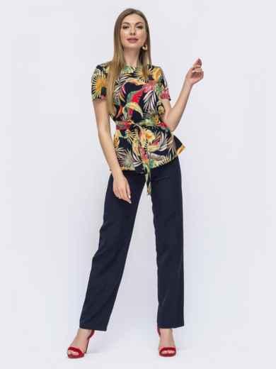 Комплект из блузки с принтом и брюк тёмно-синий 46992, фото 1