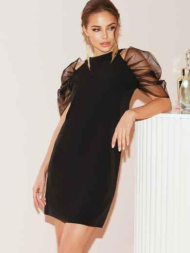 Прямое платье с фатиновыми рукавами-буфами черное 51931, фото 1