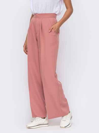 Широкие брюки розового цвета с высокой посадкой  50096, фото 3