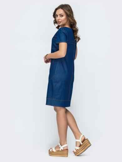 Синее платье приталенного силуэта с карманами 47000, фото 2