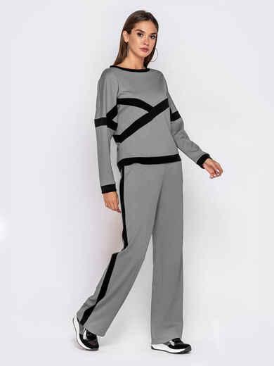 Спортивный костюм из кофты и брюк серый 50153, фото 1