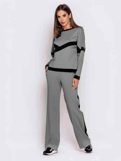 Спортивный костюм из кофты и брюк серый 50153, фото 2