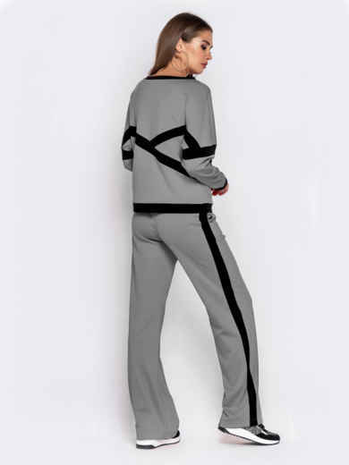 Спортивный костюм из кофты и брюк серый 50153, фото 3