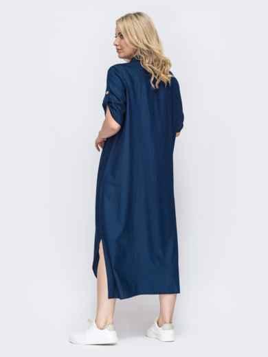 Темно-синее платье-рубашка батал с разрезами по бокам 49889, фото 2