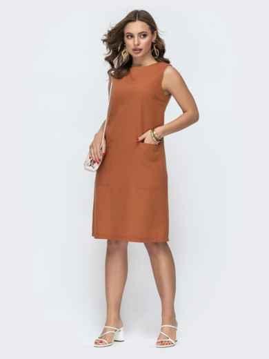 Терракотовое платье прямого кроя с карманами 46996, фото 1