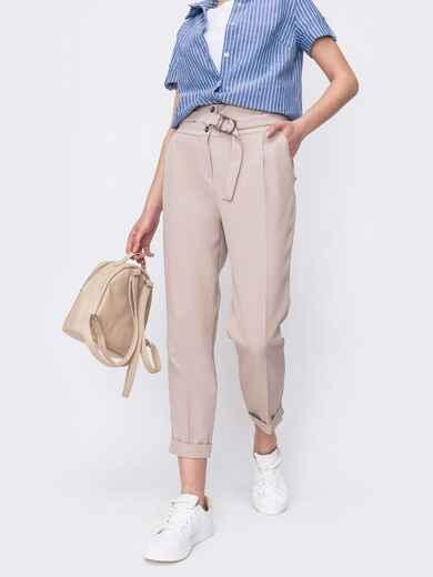 Зауженные брюки бежевого цвета на молнии 46990, фото 1