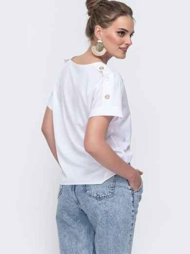 Белая блузка свободного кроя 48217, фото 2