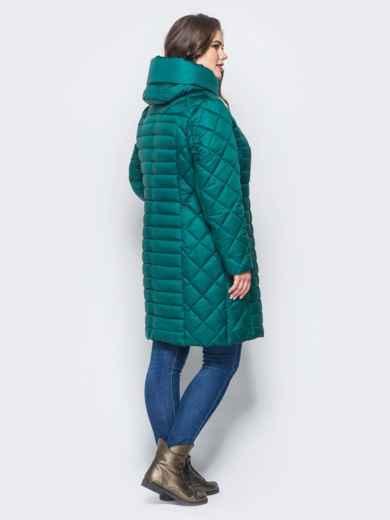 Изумрудная зимняя куртка батал на змейке 14709, фото 3