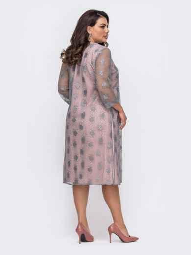 Вечернее платье батал с гипюровой накидкой серое 51486, фото 2