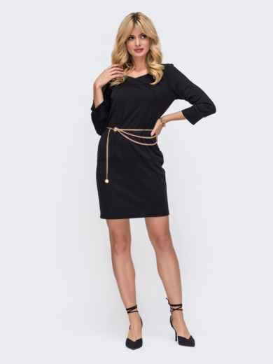 Черное платье прямого кроя с рукавом 3/4 50328, фото 2