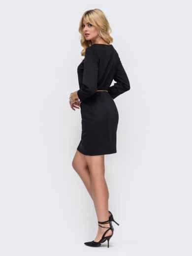 Черное платье прямого кроя с рукавом 3/4 50328, фото 3