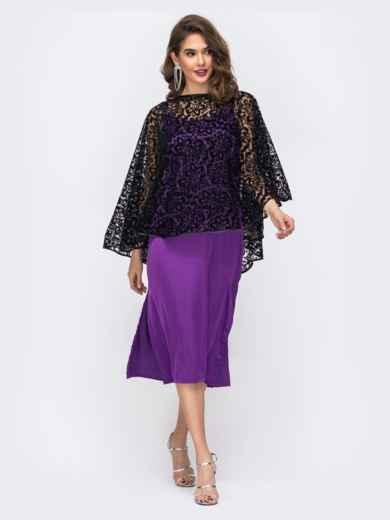 Комплект из платья и гипюровой накидки фиолетовый 42672, фото 2