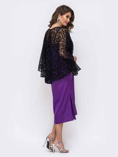 Комплект из платья и гипюровой накидки фиолетовый 42672, фото 3