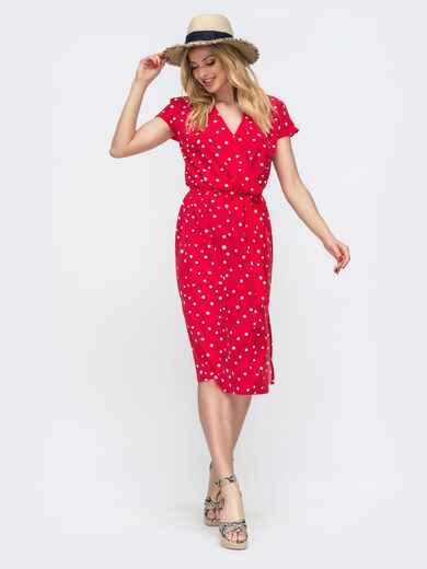 Красное платье в горох с запахом и разрезами по бокам  46853, фото 1