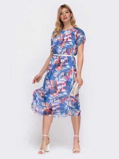 Платье с принтом и вафельной резинкой по талии голубое 48036, фото 2