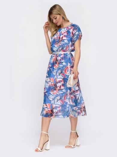 Платье с принтом и вафельной резинкой по талии голубое 48036, фото 3