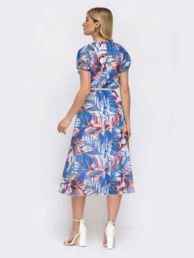 Платье с принтом и вафельной резинкой по талии голубое 48036, фото 4