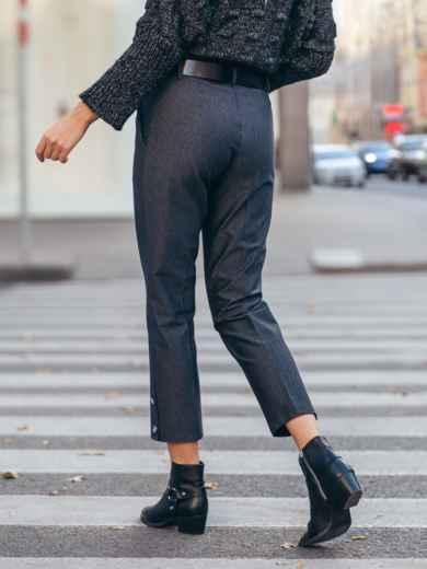 Укороченные брюки с декоративными пуговицами чёрные 51669, фото 3