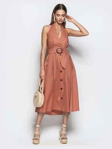 """Хлопковое платье персикового цвета с вырезом """"петля"""" 22110, фото 1"""