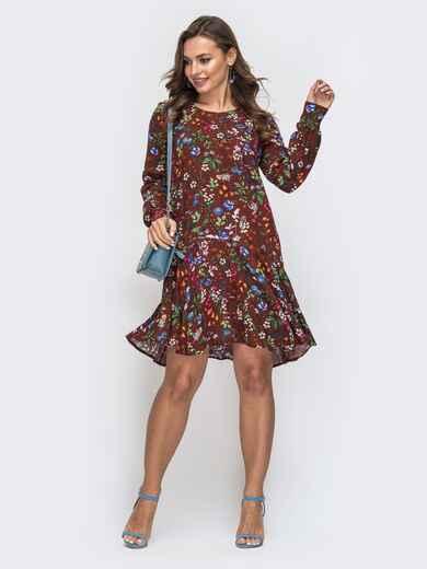 Коричневое платье с принтом и воланом по низу 45562, фото 1