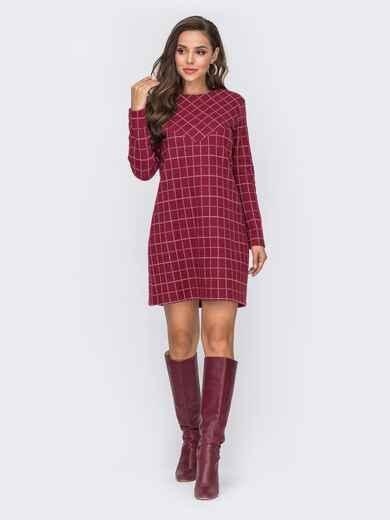 Красное платье прямого кроя из жаккарда в клетку - 50831, фото 1 – интернет-магазин Dressa