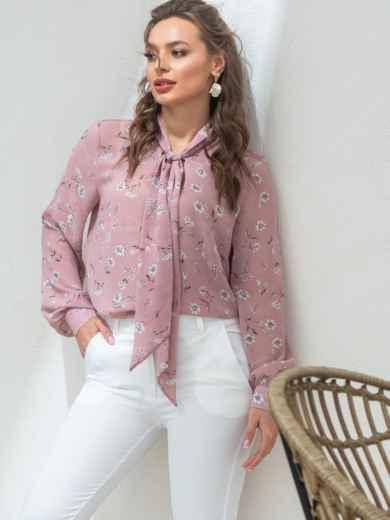 Пудровую блузка с цветочным принтом и воротником-аскот 46892, фото 2