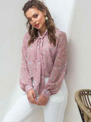 Пудровую блузка с цветочным принтом и воротником-аскот 46892, фото 3