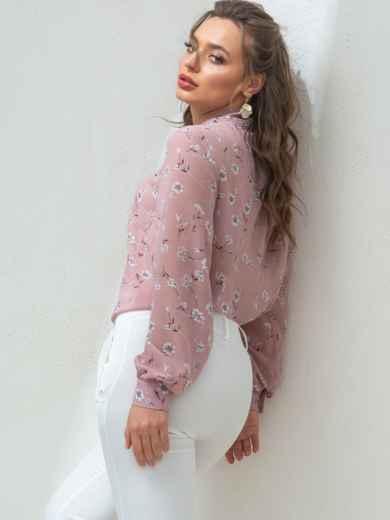Пудровую блузка с цветочным принтом и воротником-аскот 46892, фото 4